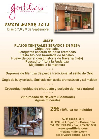 Menú especial Fiesta Mayor La Llagosta 2013