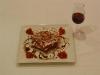 Milhojas de frutos silvestres y redución de Pedro Ximenes con calabaza confitada